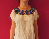 Mexican Top Blouse Blue Color Comfortable Embroidered cotton M / L
