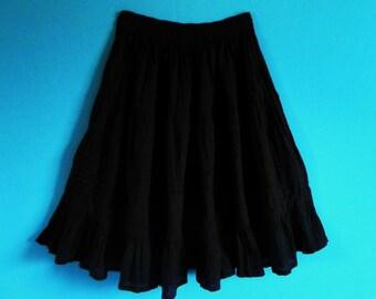 Mexican Black Skirt Comfortable Elegant Summer Long / Short Sz