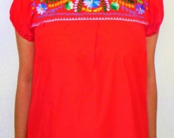 Mexican Red Blouse Fantastic Floral Embroidered Handmade Vtg Style Small
