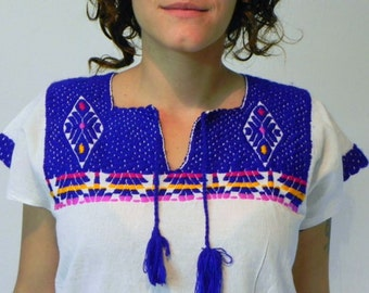 Mexican Top Blouse Blue Color Handmade Embroidered Soft Cotton Small