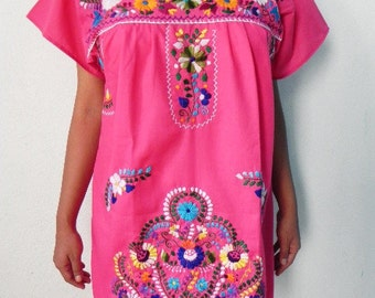 Mexican Pink Romantic Dress Lovely Color Rooster Handmade Embroidery Spring / Summer Medium / Large