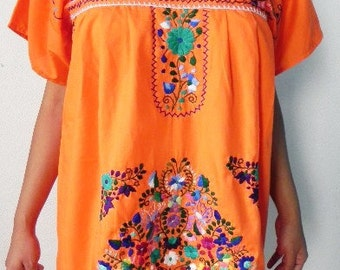 Orange Mini Dress Tunic Sun is shinning Mexican Rainbow Embroidered Vtg Boho Style Large