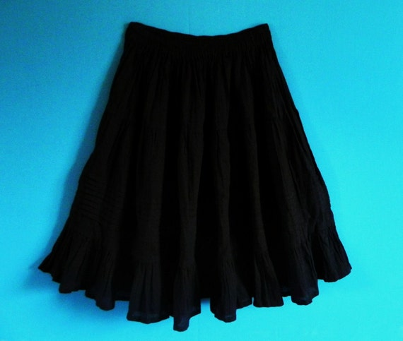 Mexican Black Skirt Comfortable Elegant Summer Long / Short Sz