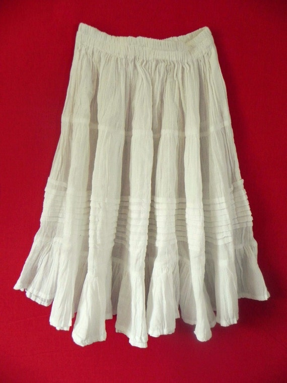 Mexican White Skirt Comfortable Elegant  Elastic Resort Sizes Long / Short
