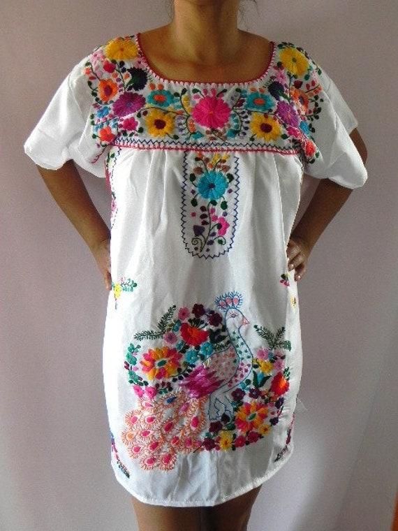 Mexican White Mini Dress Colorful Elegant Peacock Embroidered Handmade Medium / Large