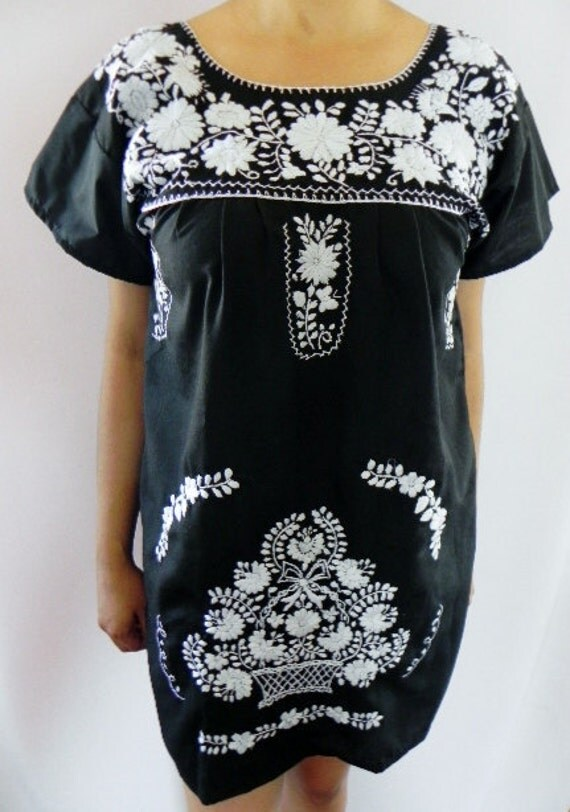 Mexican Balck Mini Dress Fantastic Floral Fine Embroidered Handmade Small