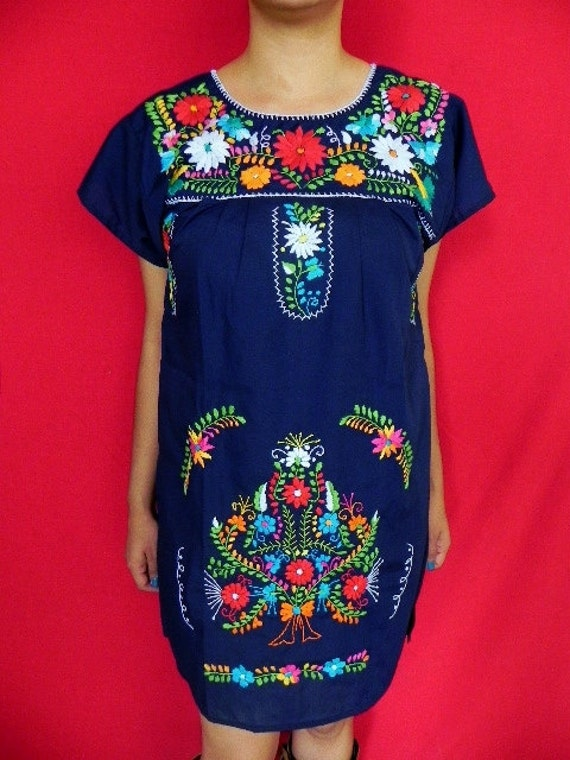 Mexican Blue Navy Mini Dress Fantastic Colorful Handmade Embroidered Small / Medium