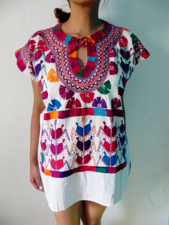 Mexican Top Blouse Fantastic Colorful Embroidered Handmade Summer Collection Very Special Medium