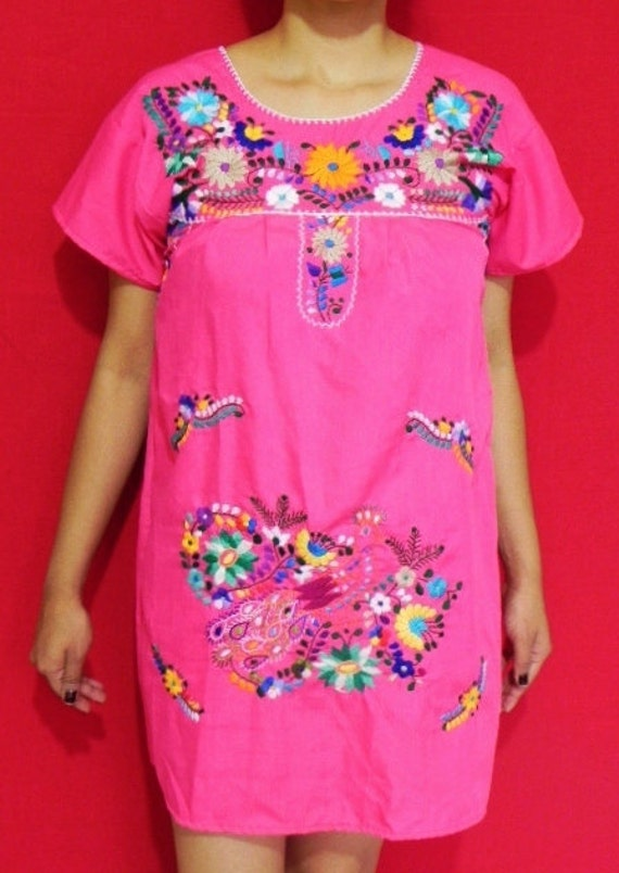Mexican Pink Mini Dress Peacock Colorful Embroidered Handmade Summer Small