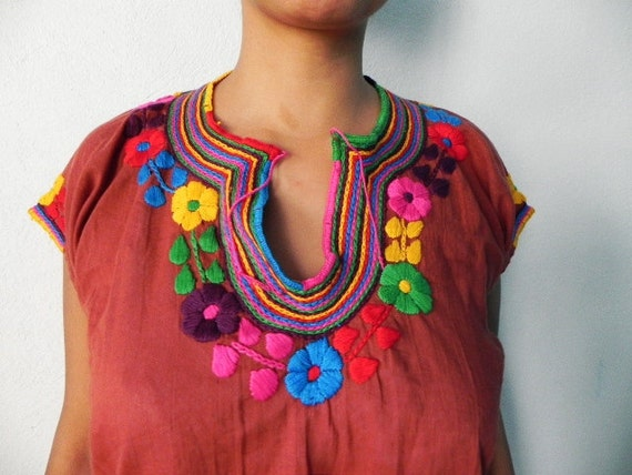 Mexican Top Blouse Fantastic Colorful Amazing Embroidered Handmade Medium / Large