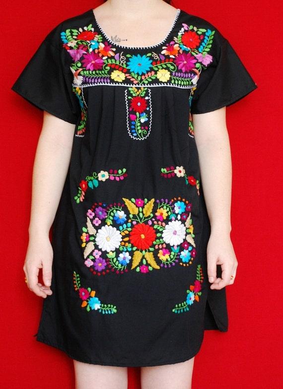 Mexican Black Mini Dress Fantastic Embroidered Handmade Spring / Summer Medium
