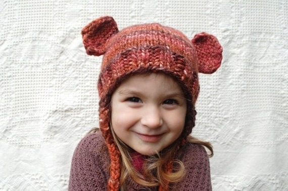 SALE- Brown Animal Children's Earflap Hat - Bear, Monkey, Otter, Mouse Dress Up