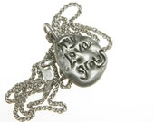Silver Pendant Necklace for Men Women, Love Jewelry, Cast Sterling, Anniversary Valentine