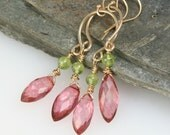 Chandelier Earrings in Pink Quartz and Peridot- Gold Dangle Bollywood Style