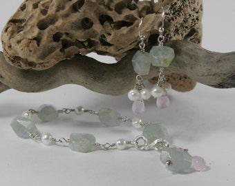 Aquamarine Bracelet Silver and White Pearls Pink Quartz Perfect for Brides