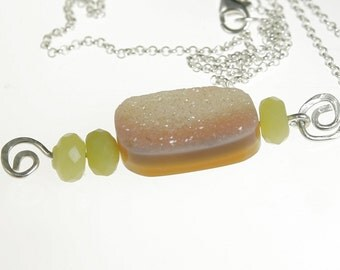 Sunset Druzy Pendant w Olive Jade Sterling Silver Drusy Pendant Necklace 24 Inch