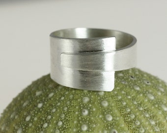 Modern Handmade Silver Overlap Ring 6.5 Wraparound Industrial Chic Men or Women