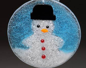 Snowman Christmas Winter Holiday Hanging Fused Glass Ornament in Gift Box