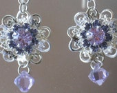 Swarovski Larger Fleur with Lilac earrings-- Sale