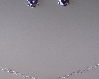 Mini Academies earrings with Petit Amethyst and Necklace SET