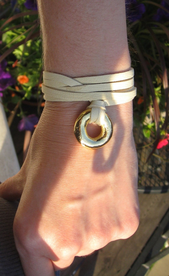 Golden Gate Wrap Greek Hand Dipped Gold with Tan Deerhide Leather Strips-- sale last call