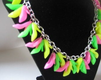 CUTE Pink Barbie Shoe NEON heel Necklace PINK green yellow DaY GLo Doll