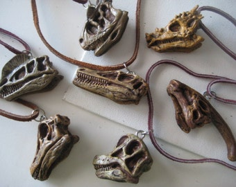 DINOSAUR SKULL Necklace Plastic for Men or Women, Boys, Leather, DINO necklace, Skull