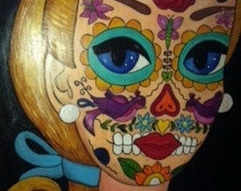 BARBIE Original PAINTING Sugar Skull Day of Dead Dia de los Muertos DOLL Big