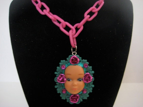 Pretty Pink Vintage Skipper Barbie Doll Face Jeweled Cameo Pink Plastic Chain