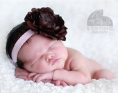 Flora Pink and Brown Baby Flower Headband - Baby Infant Toddler Girls - Any size available