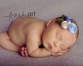 Pleuvoir Blue Flower Headband - Baby Flower headband - Baby Headband - Infant Headband - Fabric Flower Headband - Newborn Headband