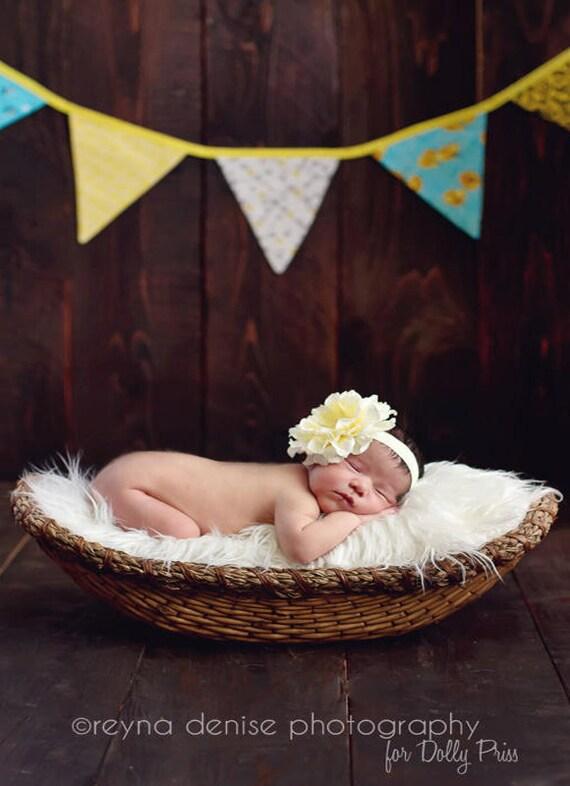 Soft Yellow - Baby Flower Headband - Infant Headband - Newborn Headband - Toddler Girls