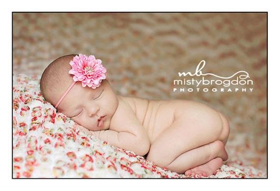 Baby Flower Headband - Pink Flower - Baby Headband - Newborn Headband - Infant Headband - Toddler Girls Headband