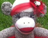 Sock Monkey Doll, Plush Toy in Red Tutu