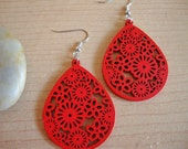Red Hot - Red Wooden Earrings