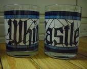 Vintage White Castle Glass Tumbler- Set of 4