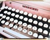 12x18 Vintage Pink Royal Typewriter Photograph Mounted on Bamboo