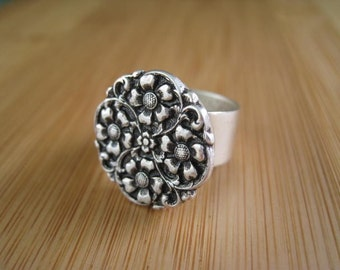 Flower Ring Silver - These Are Four You Silver Flower Ring Adjustable
