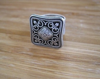 Hip to be Square Silver Adjustable Ring Handmade by Marleyjanedotcom on Etsy