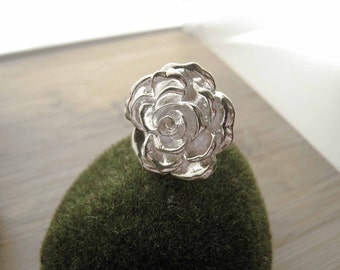 Flower Silver RIng - A Midsummer Night's Ring - by marleyjanedotcom on Etsy Rose Silver Shiny Big Large Adjustable