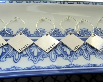 Wine Charms Silver 10 - No This Is Your Drink - 10 Silver Customizable Square Wine Charms by Marley Jane Mother Mother's grandmother day mom