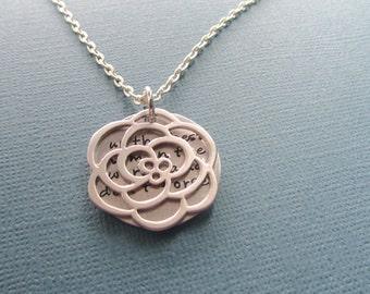 Secret Message Necklace Flower - Your Secret Message Necklace - Silver Filled Pendant Mother Wife Girlfriend Sister best friend
