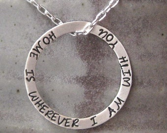 Special Message Necklace Sterling Silver - No End and No Beginning - Circle Pendant Mother Wife Girlfriend Sister best friend