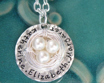 Sterling silver nest necklace- Custom Personalized Mother necklace Children Child Mom Baby