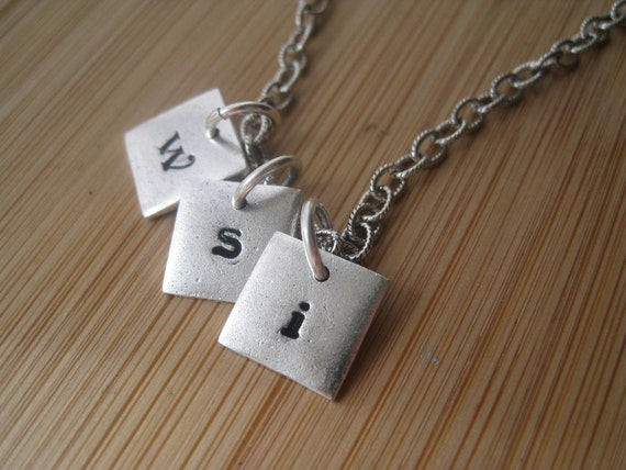 Custom Silver Necklace - Little Sqaures of You Silver Custom Necklace stamped personalized engraved