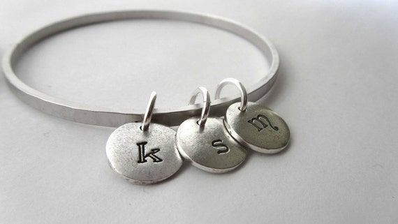 Bangle Bracelet 2 Silver Custom Engrave - Banded Together - Initals Date Letters Numbers Child Mother