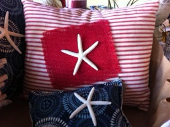 Starfish, Sea Star, Americana, Vintage Barn Red Ivory Ticking, Polyfil Insert, 12 x 16