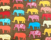 A0031 - FLANNEL fabric - Elephants - by the yard
