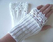 Knit/crochet pattern, PDF, Lace fingerless gloves