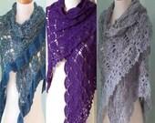 Crochet pattern, 3 - in - 1 lace shawl,  PDF